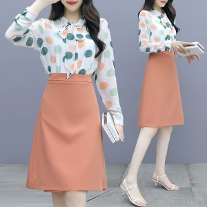 2020 new fashion long sleeve polka dot shirt skirt temperament