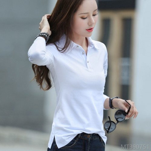 2020 new Korean style slim slimming lapel long sleeve T-shirt for women