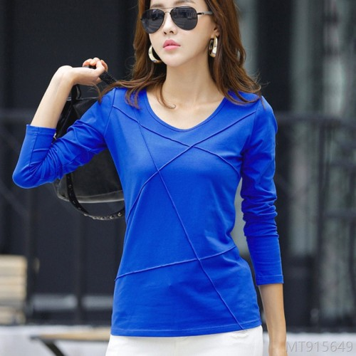 2020 New Korean Slim Long Sleeve Ladies T-shirt High Quality