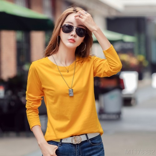 2020 new solid color cotton long sleeve t-shirt ladies round neck