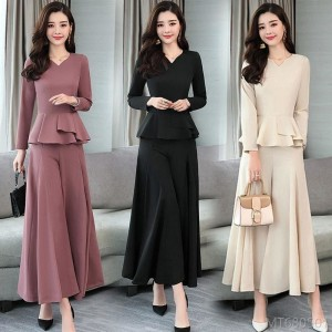 2020 new fashion wide leg pants two-piece loose casual sportswear suit