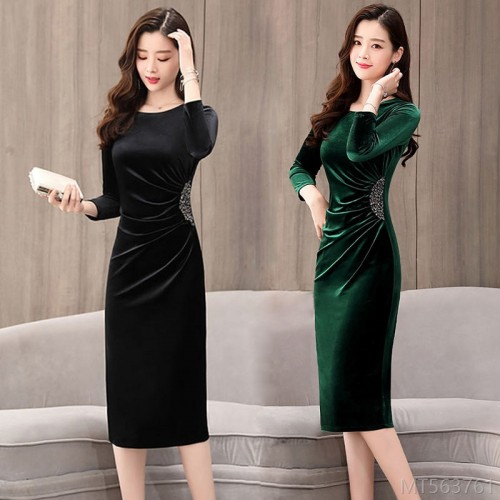 2020 new gold velvet dress fashion long sleeve skirt cheongsam