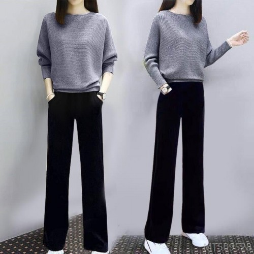2020 new solid color knitted sweater casual trousers two-piece suit