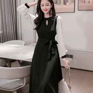 2020 new waist retro Hepburn style mid-length fashion women's skirt
