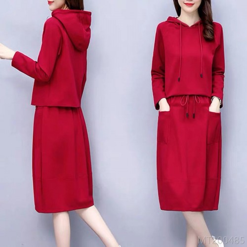 2020 new casual fashion long sleeve two-piece suit bag hip dress