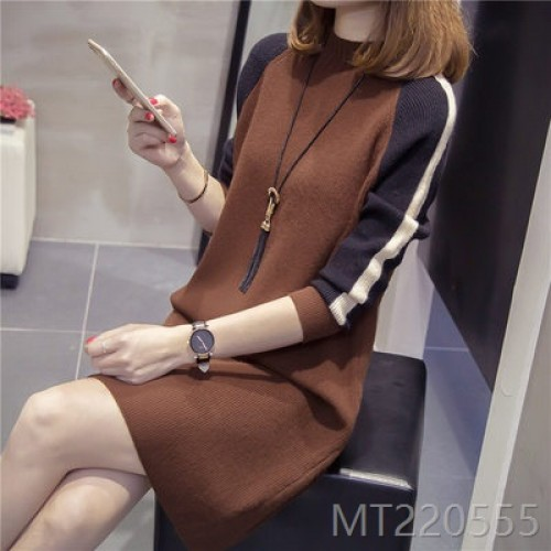 2020 new fall/winter bottoming shirt pullover dress loose Korean long sleeve knit