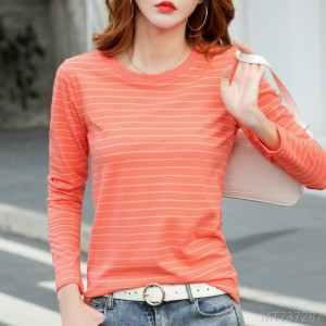 2020 new long-sleeved T-shirt ladies round neck striped bottoming shirt
