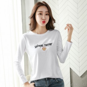 2020 new embroidered letters long sleeve T-shirt ladies top