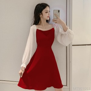 2020 new splicing dress Korean style square collar high waist