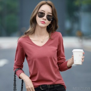 2020 new fashion Korean V-neck straight long sleeve T-shirt