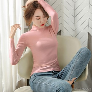 2020 new solid color bottoming shirt Korean version with long-sleeved slim t-shirt