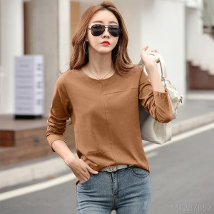 2020 new round neck solid color long-sleeved T-shirt bottoming shirt