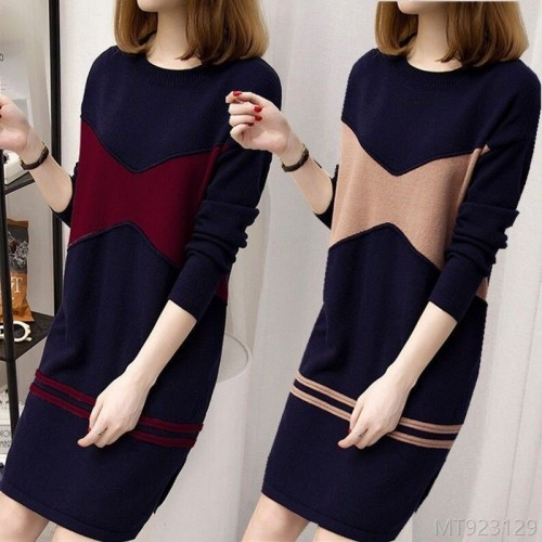 2020 new velvet padded pullover sweater mid-length dress with split ends