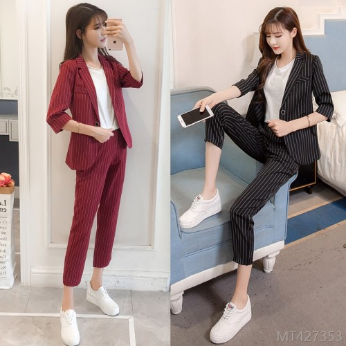 2020 new mid-sleeve small + nine-point pants fashion suit suit