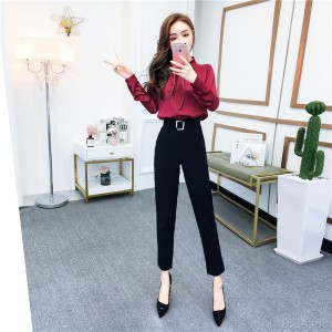 2020 new satin shirt + high waist slim pants fashion suit