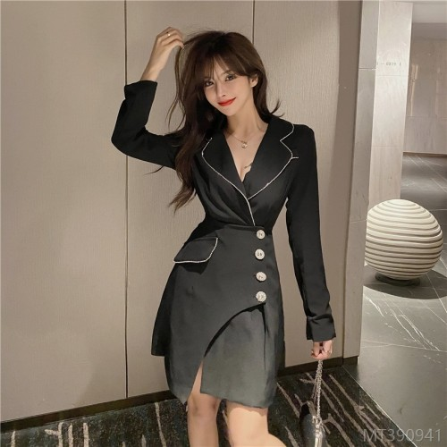 2020 new decorative waistband fake two-piece waist dress