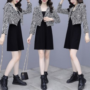 2020 new short coat dress two-piece fashion autumn
