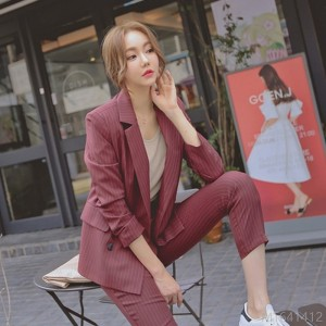 2020 new striped small suit women casual double-breasted cropped pants