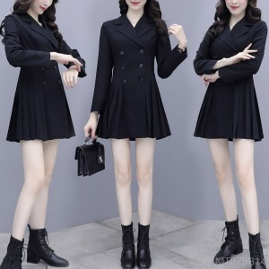 2020 new all-match black temperament long sleeve dress