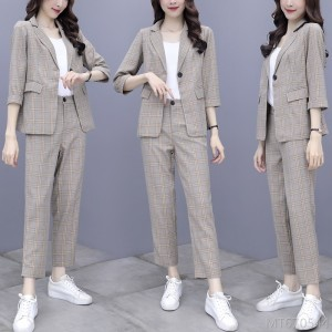 2020 new temperament goddess fan professional wear lattice two-piece suit