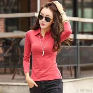 2020 New Korean Slim Lapel Large Size 95 Cotton Long Sleeve T-shirt