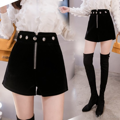 2020 new slim velvet rivet woolen high waist shorts straight pants