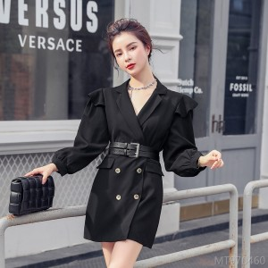 2020 new waist pleated a-line black slim suit collar dress