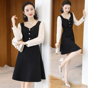 2020 new long sleeve mid-length dress
