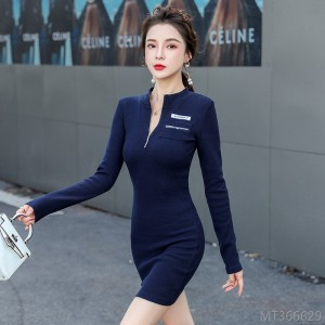 2020 new long-sleeved slim bag hip knitted slimming bottoming dress