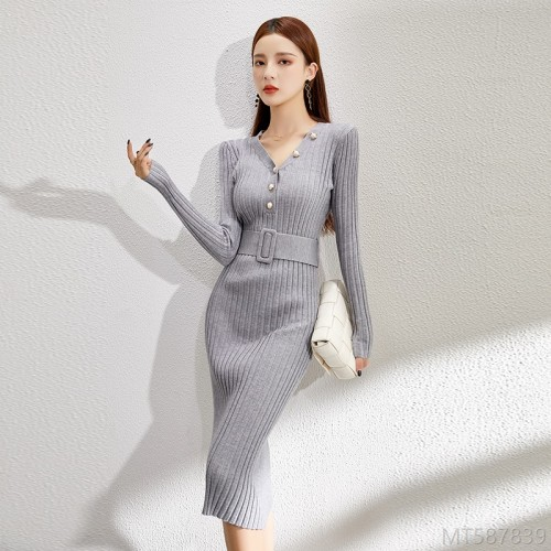 2020 new over-the-knee regular long skirt dress knitted base