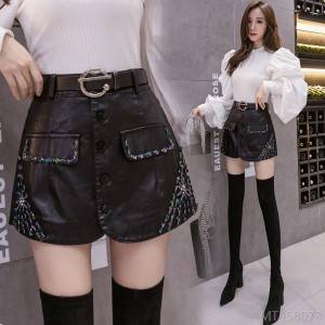 2020 new handmade beaded PU leather high waist slim fit