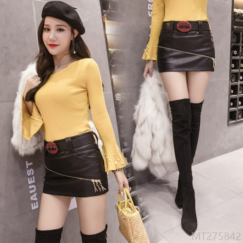 2020 new Korean fashion one step skirt PUA word skirt leather short skirt bag hip
