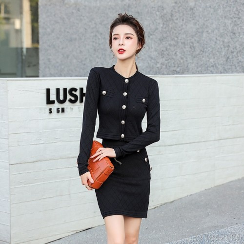 2020 new slim tight fashion solid color round neck slimming base skirt