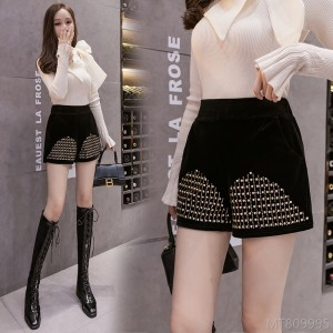 2020 new woolen sequins high waist shorts boots pants A-line pants straight