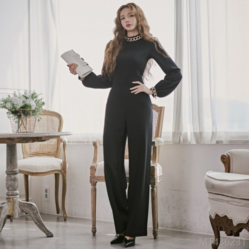 2020 new long-sleeved jumpsuit overalls high waist professional casual pants
