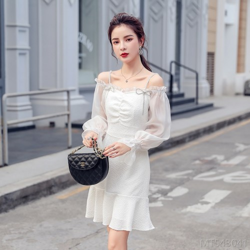 2020 new sling long-sleeved waist fairy solid color dress