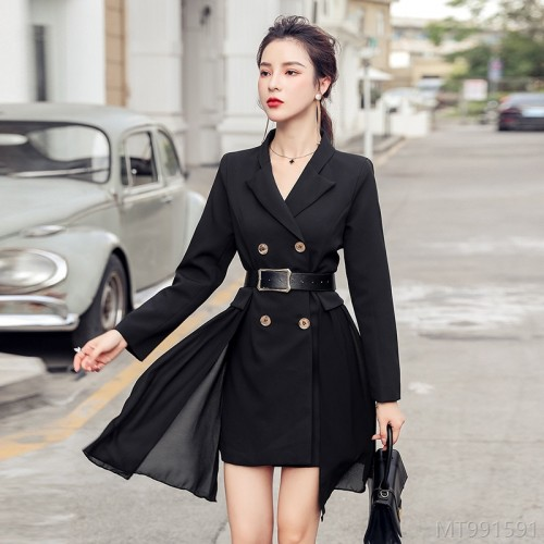 2020 new slim professional waist slimming suit collar high waist single piece