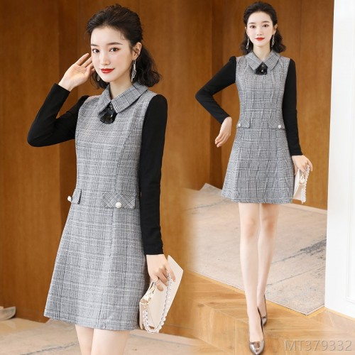 2020 new season plaid skirt waist slim long-sleeved small dress