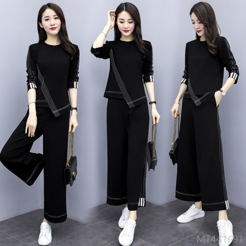 2020 new temperament blouse two-piece design sense light familiar wind wide-leg pants