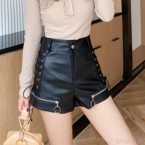 2020 new fashion wide leg pants PU leather high waist shorts