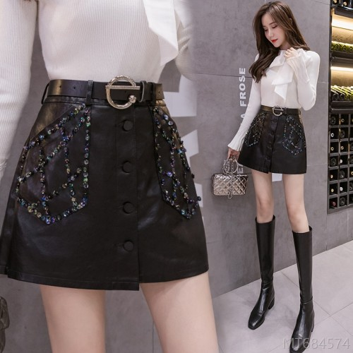 2020 new handmade beaded PU leather high waist slim slim skirt