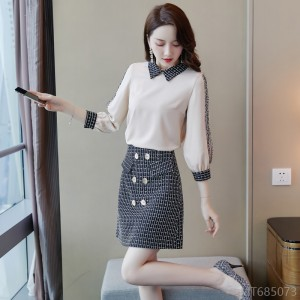2020 new Korean version of lightly cooked and thin a-line short skirt two-piece suit
