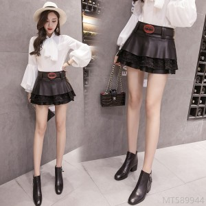 2020 new slim fashion lace PU puff skirt skirt