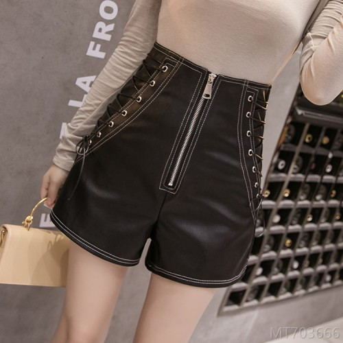 2020 new simple fashion wide leg pants PU leather high waist shorts