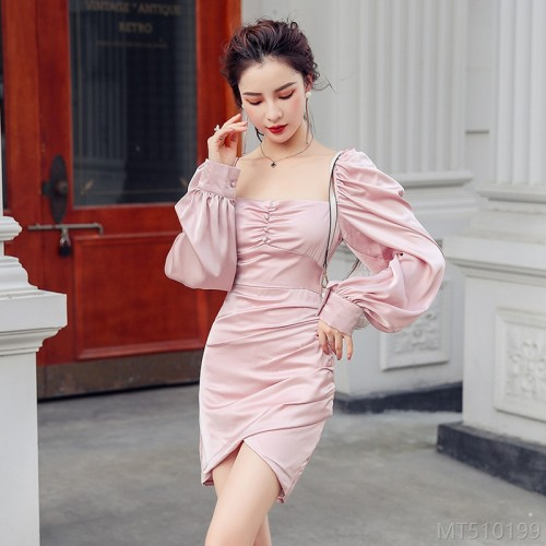 2020 new sexy slim dress with zipper one-piece high waist