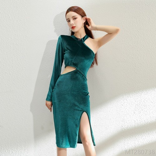 2020 new sling skirt slim long skirt velvet base party dress