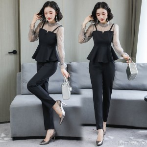 2020 New Fashion Temperament Royal Sister Professional Chiffon Shirt Pants