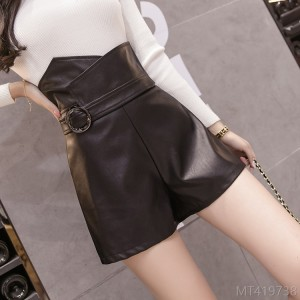 2020 new slim slim high waist PU leather short skirt A-line skirt
