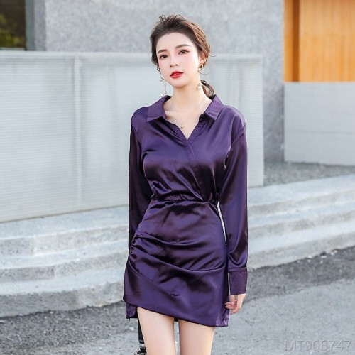 2020 new dress short skirt skirt slim fit bag hip long sleeve waist waist