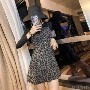 2020 new knitted bottoming slim denim two-piece dress